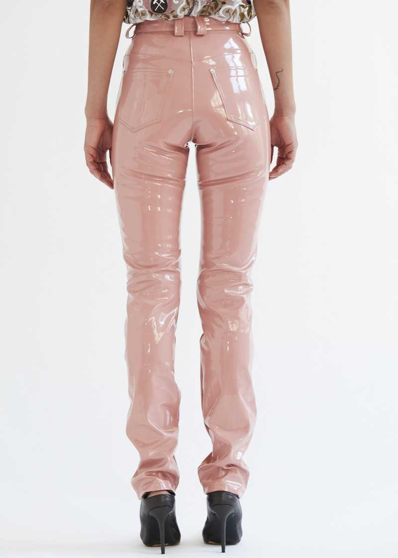 "Frey Vinyl Trousers Rose. GmbH SS20 ""20 20 Vision"" collection."