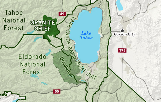 area map of Granite Chief Wilderness