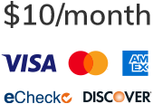 $10 a month, CPACharge accepts Visa, MasterCard, American Express, Discover, and eChecks