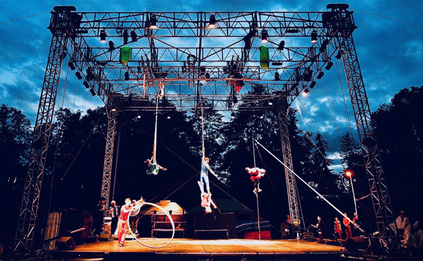 outdoor circus performance at letni letna festival