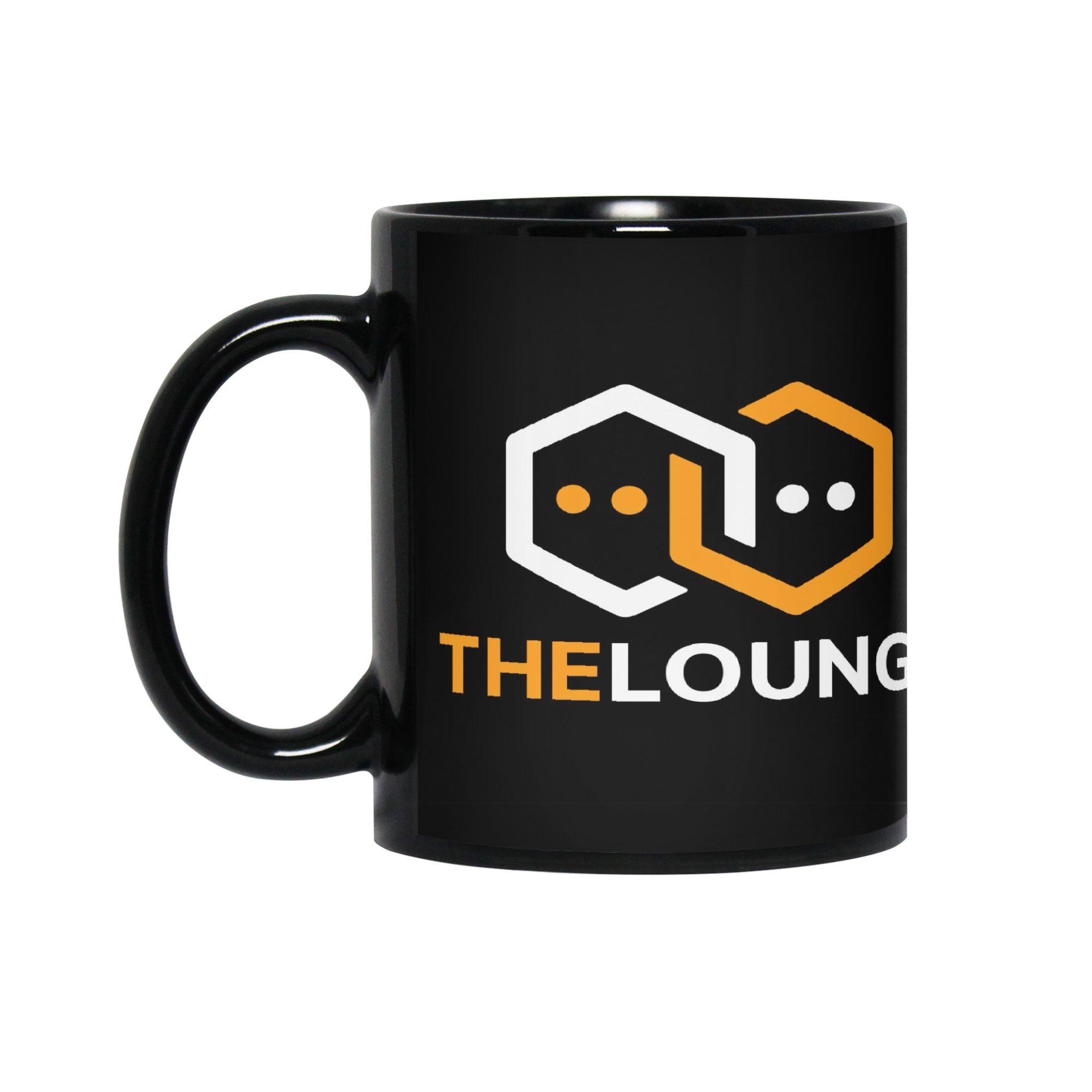 Black mug with inverted The Lounge logo