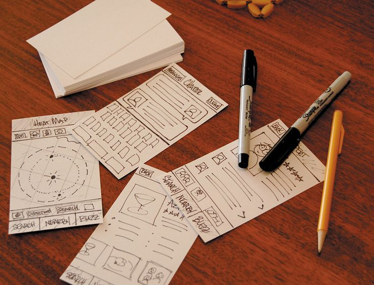 Paper wireframes scattered on a table