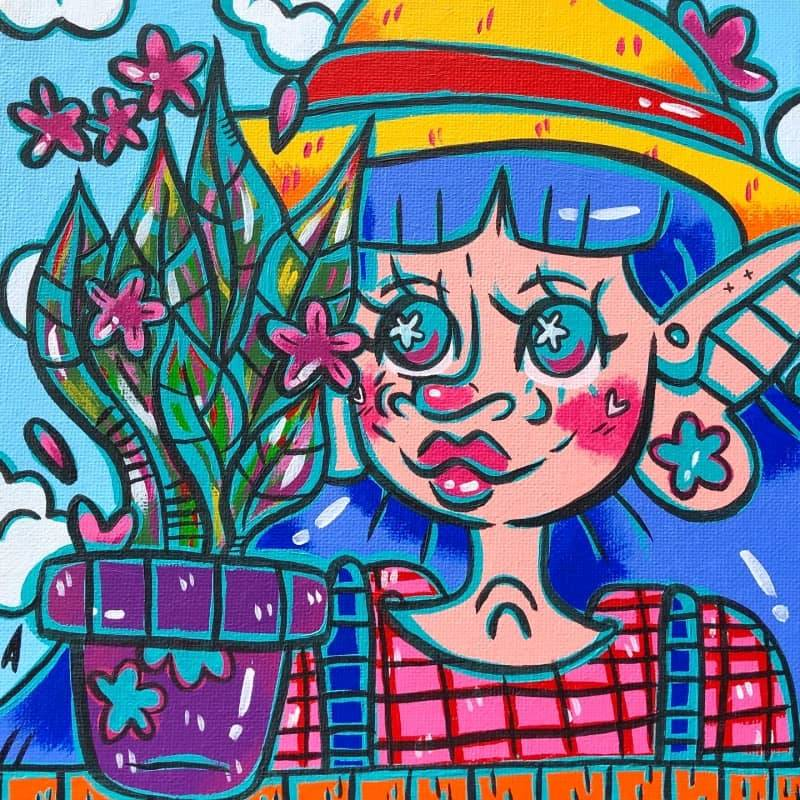 lil farmer gal admiring her weird colourful plant ♡ 8x8