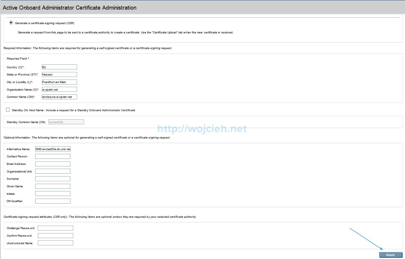 Installing signed SSL certificates in HP c7000 enclosure - 3