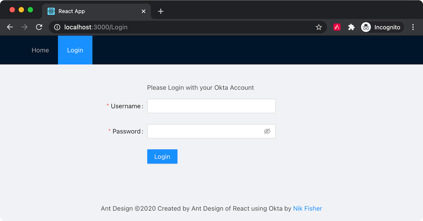 The login component