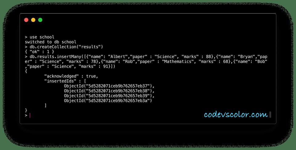 MongoDB sort documents example