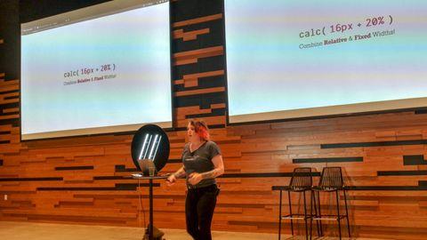 Miriam speaking at Develop Denver, 2019