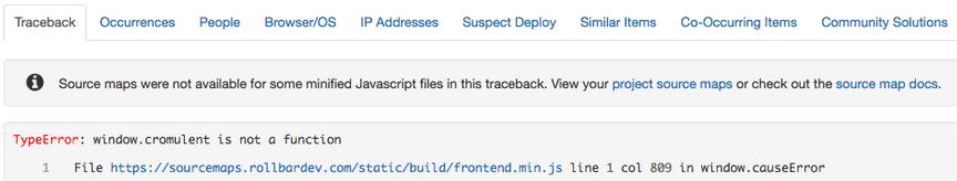 traceback message