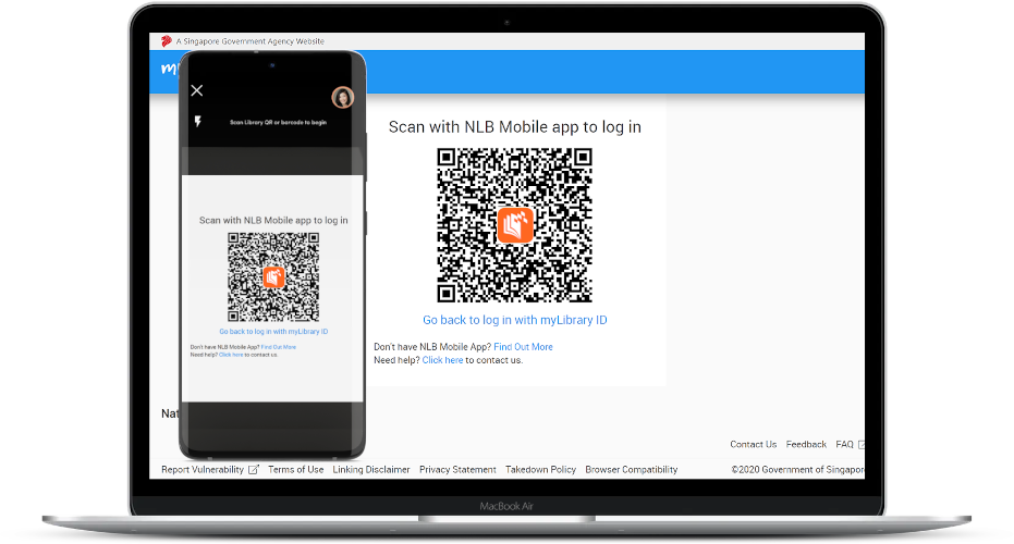 Screenshots of the QR login process on a laptop and a phone
