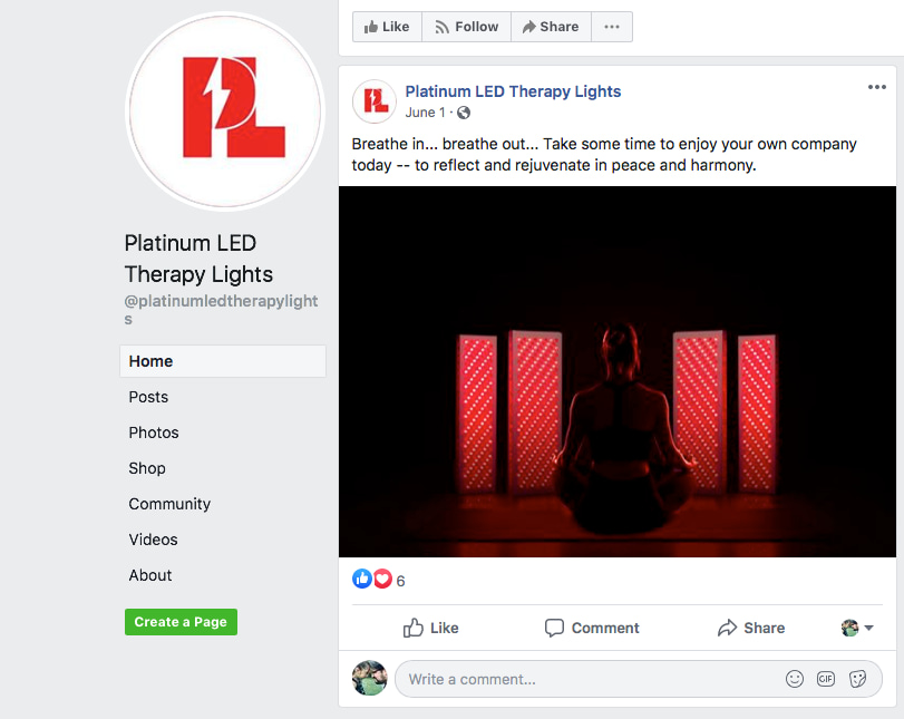 Platinum LED Therapy Lights Facebook Snapshot