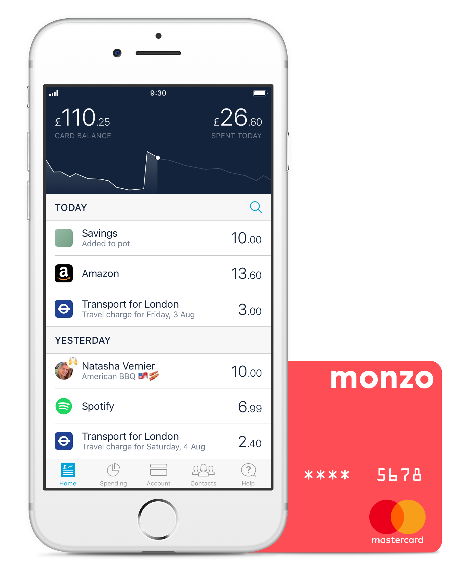 The Monzo app and a hot coral debit card
