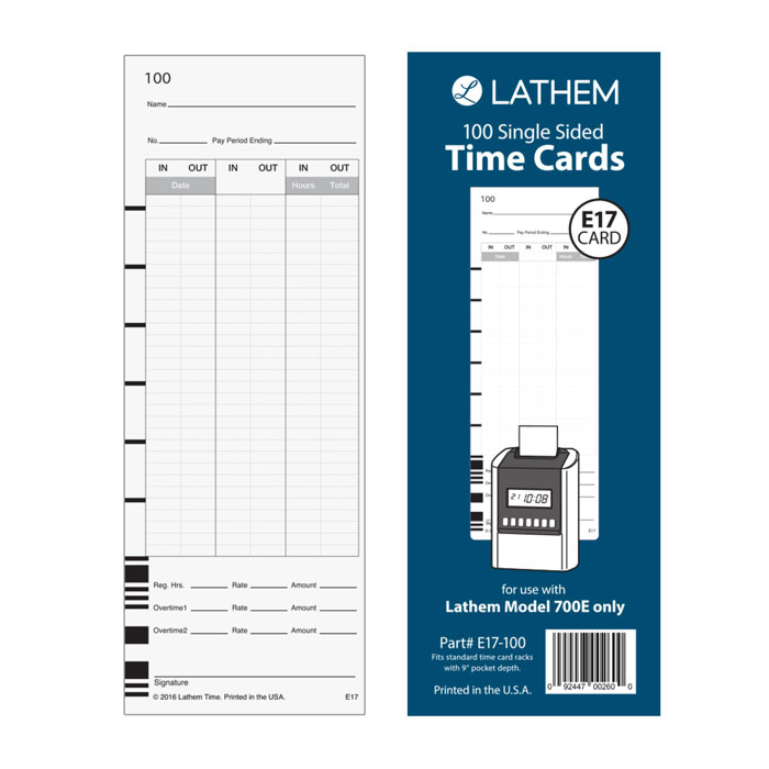 700E Time Cards - Pack of 100
