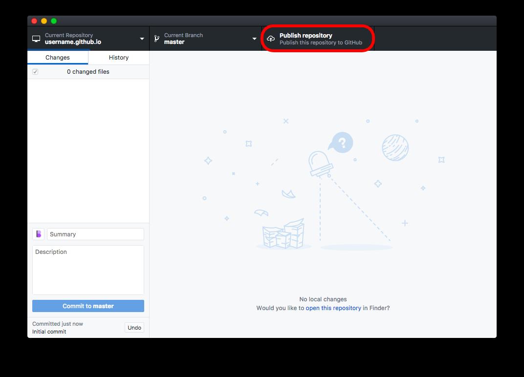"Click ""Publish Repository"" in the top right-hand corner"