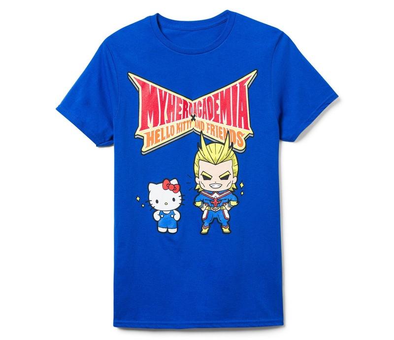 Mens Blue Hello Kitty & My Hero Academia Graphic Tee