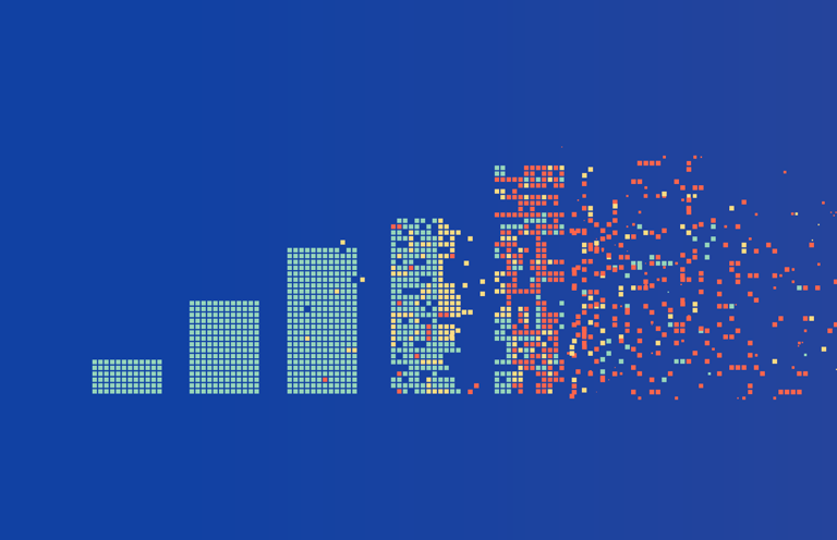 A bar graph with five bars each larger than the preceding one in size. The last bar is breaking up and blowing away into small pixel-like fragments.