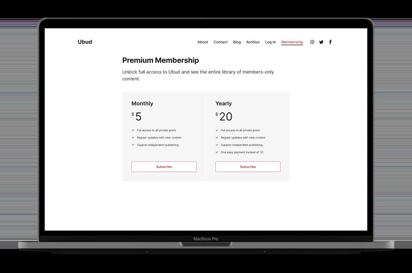 Ubud Ghost Themed Membership Page