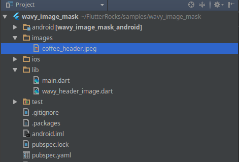 The folder structure after adding the coffee_header.jpeg to our images folder.