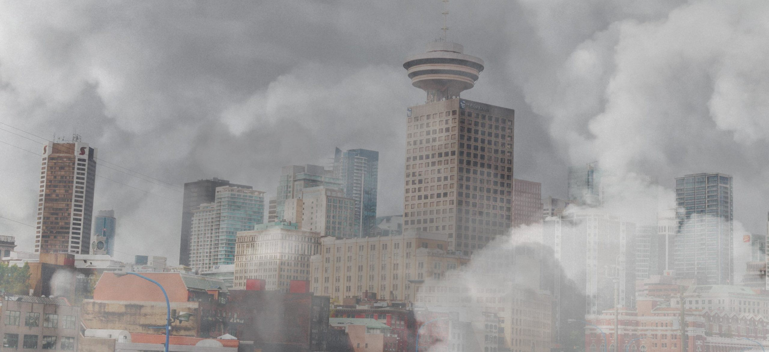 Photo illustration of wildfire smoke in the air over the city of Vancouver BC