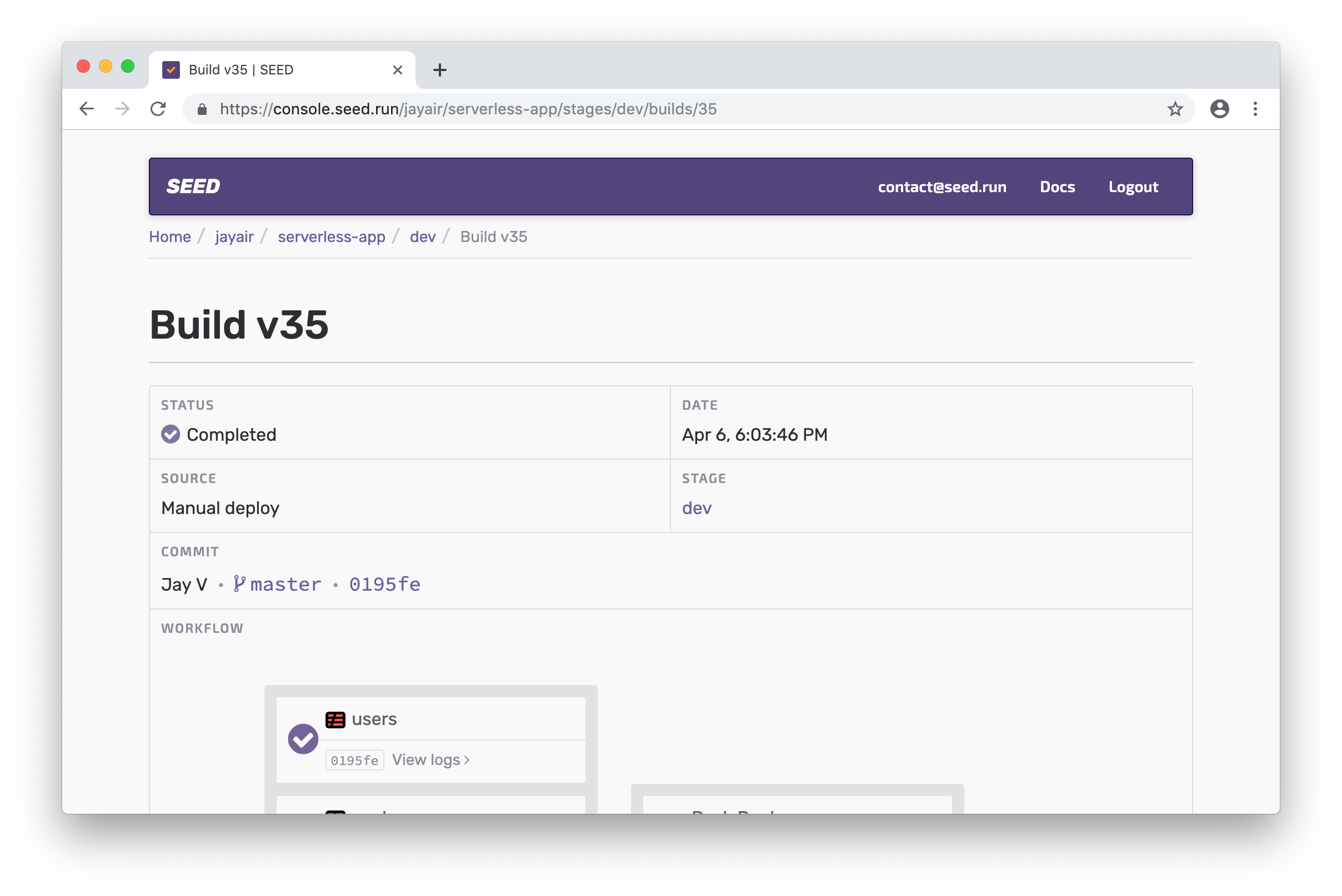 Seed build page in Chrome