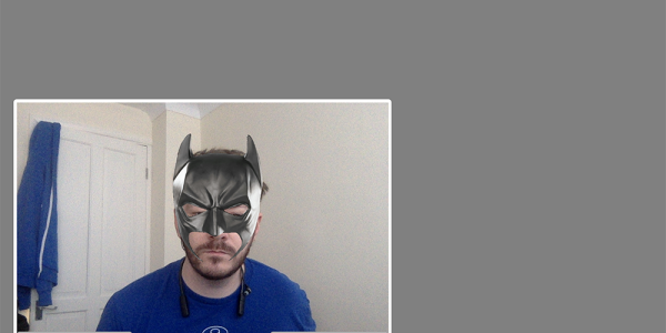 Vonage Video stream with a Batman mask