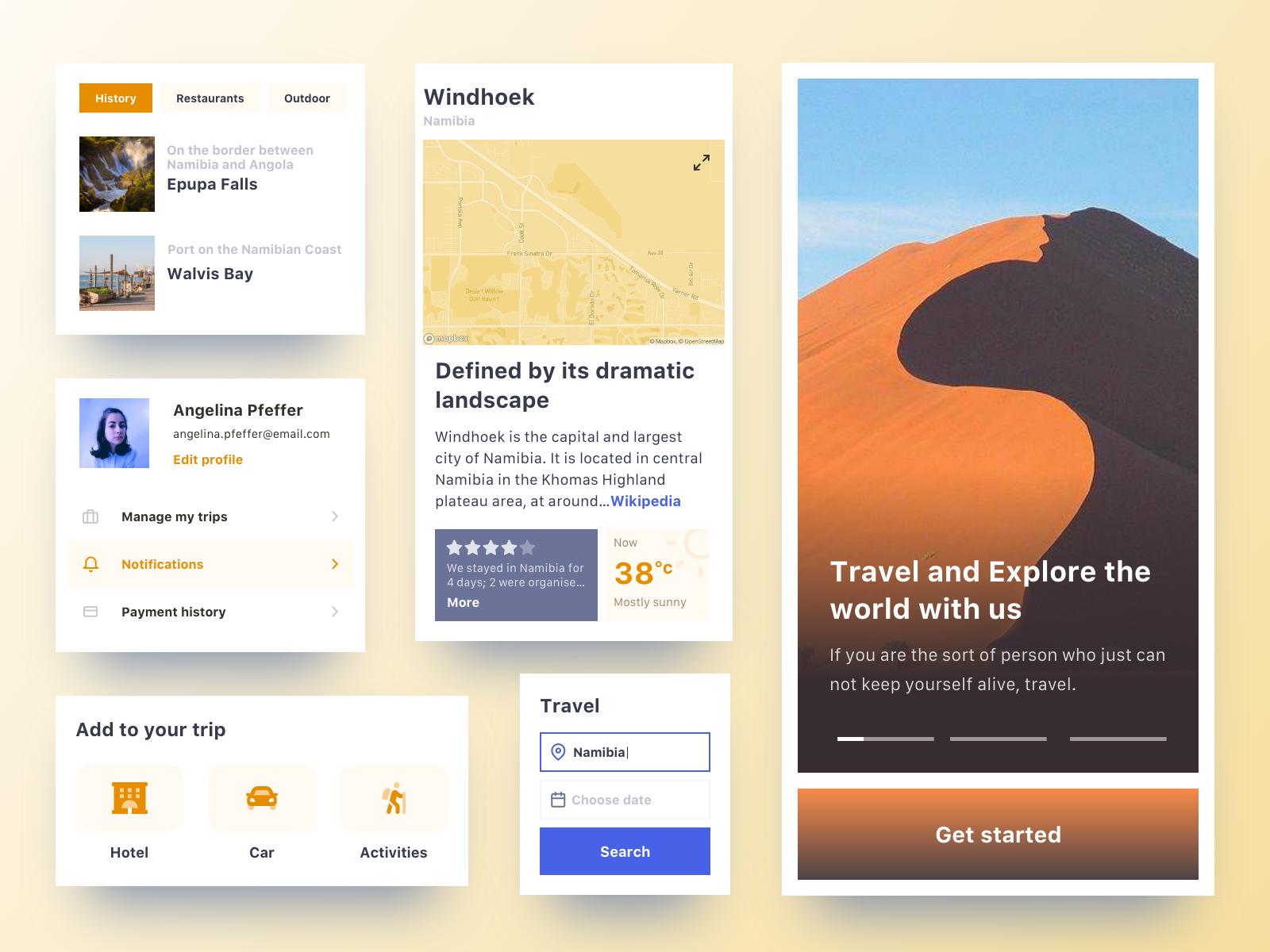 Travel organizer web app components 1