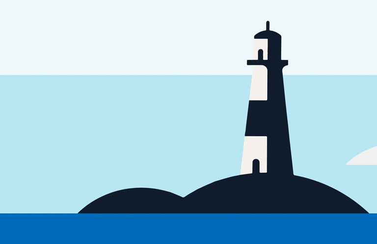 A blue strip of ocean, with a small black island, and a black and white lighthouse against light blue sky and a white cloud.