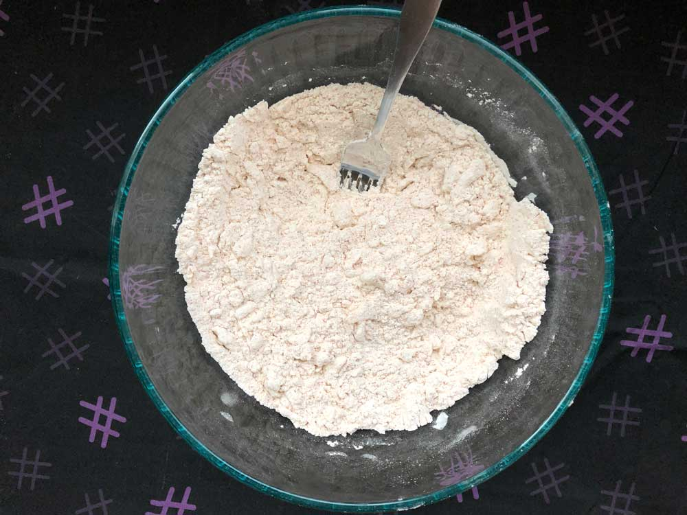 dry ingredients with butter cut in