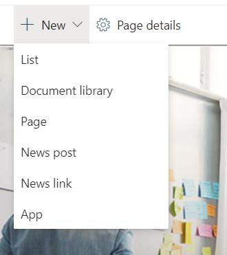SharePoint new menu