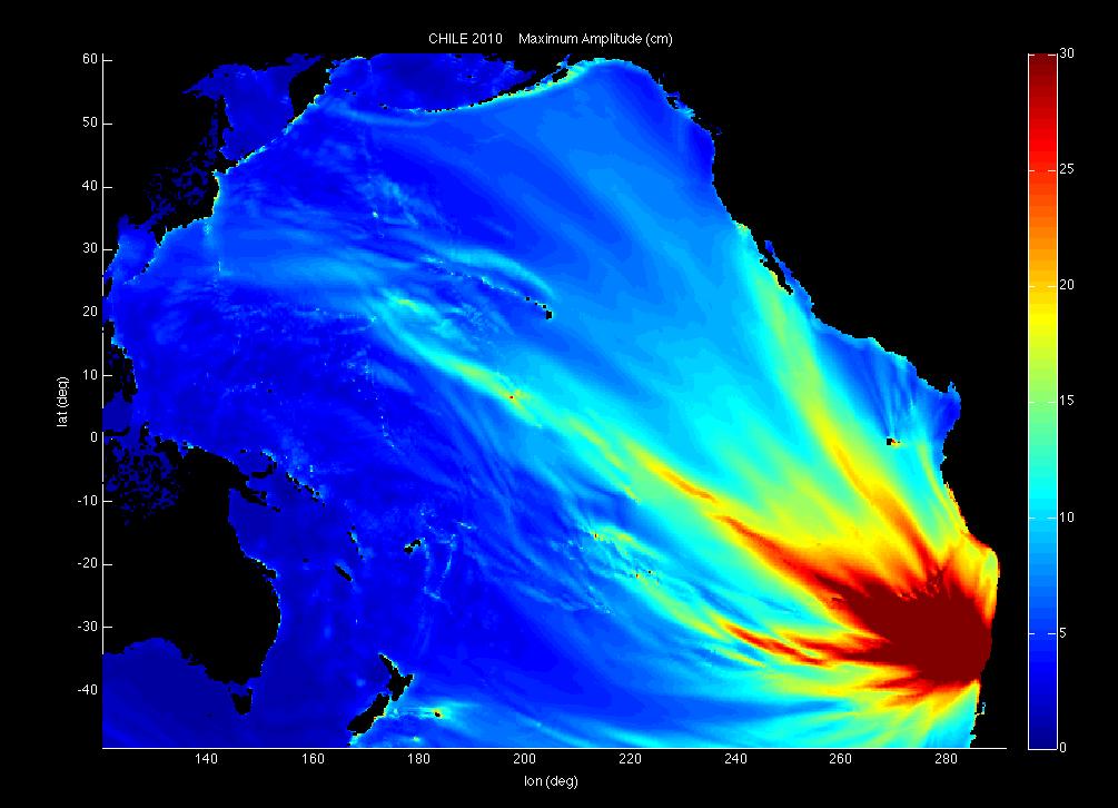 Sculptural heatmap of Chile's 2010 earthquake