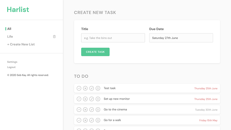 Harlist tasks list screenshot