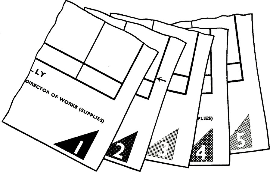 Copies of a set of forms distinguished both by coloured corner patches and copy numbers; the colour of the patch on each copy being the same as the colours of the rest of the printing on that copy. Note that the patch does not 'bleed' off the edge of the form—a margin of 3/16″ is desirable