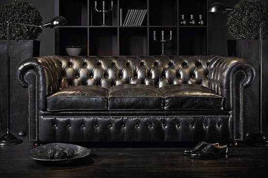 The Original Chesterfield Brighton 2 En 3zitsbank Zetel Salon Zwart 9200000035634009_1 56 cm