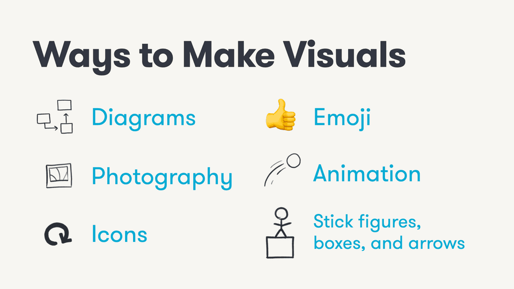 ways to make visuals include diagrams emoji photography animation icons stickfigures boxes and arrows