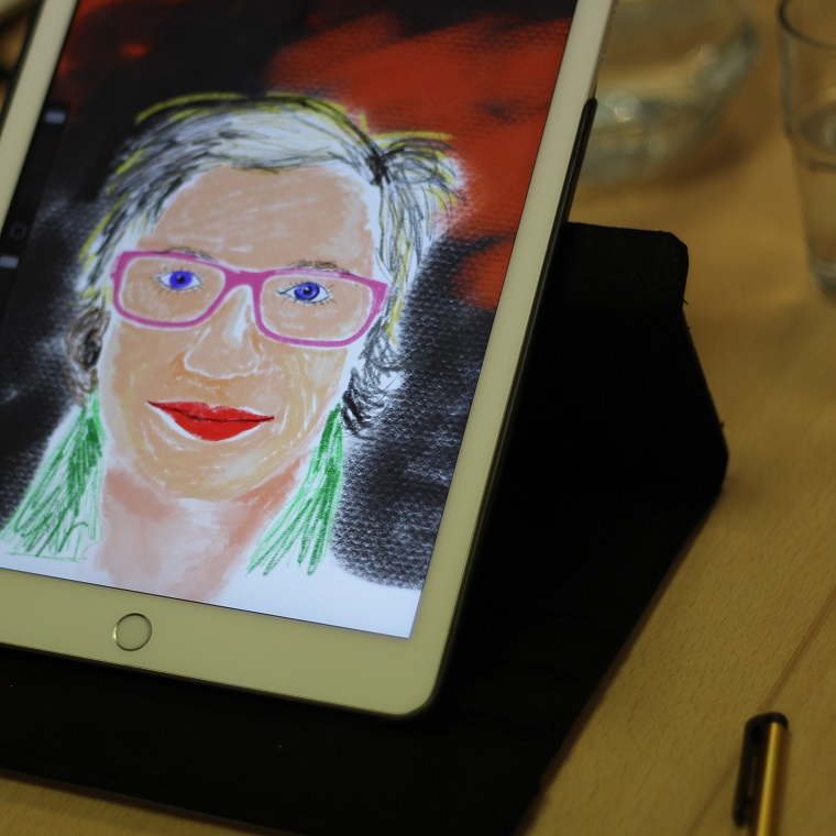 iPad picture of a woman in glasses