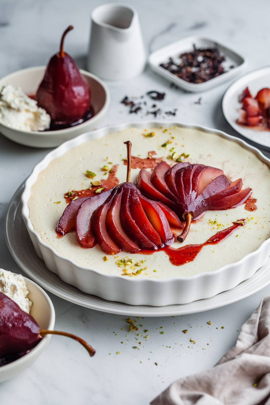 Baked Vanilla Yoghurt With Hibiscus Poached Pears