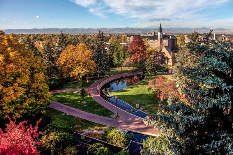 Autumn colors descend on trees on the University of Denver campus