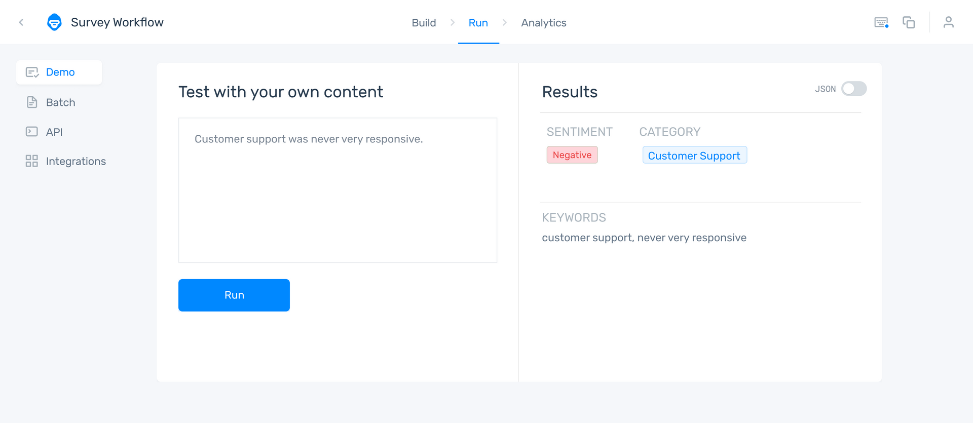 Monkeylearn's aspect based sentiment analyzer classifying a survey response.