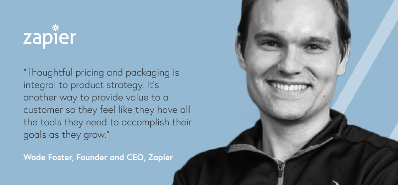Photo of man with quote text and a logo of a company called Zapier