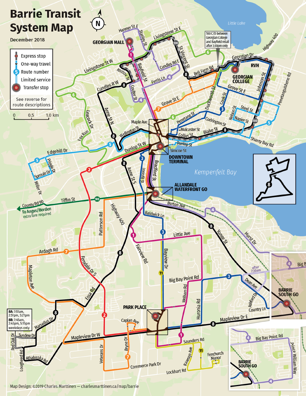 Re-drawn Barrie Transit map