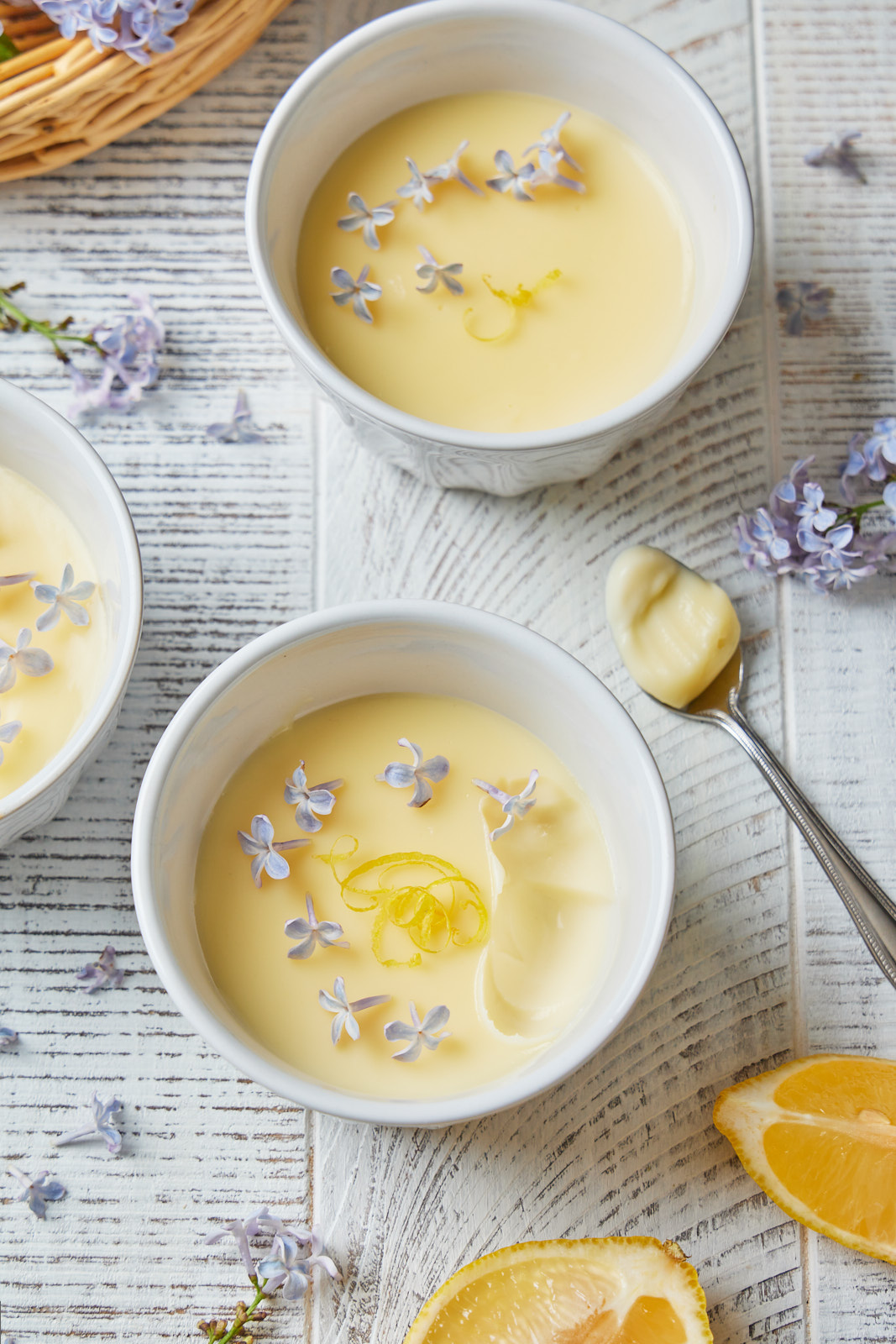 Creamy Lemon Posset Infused With Lilac