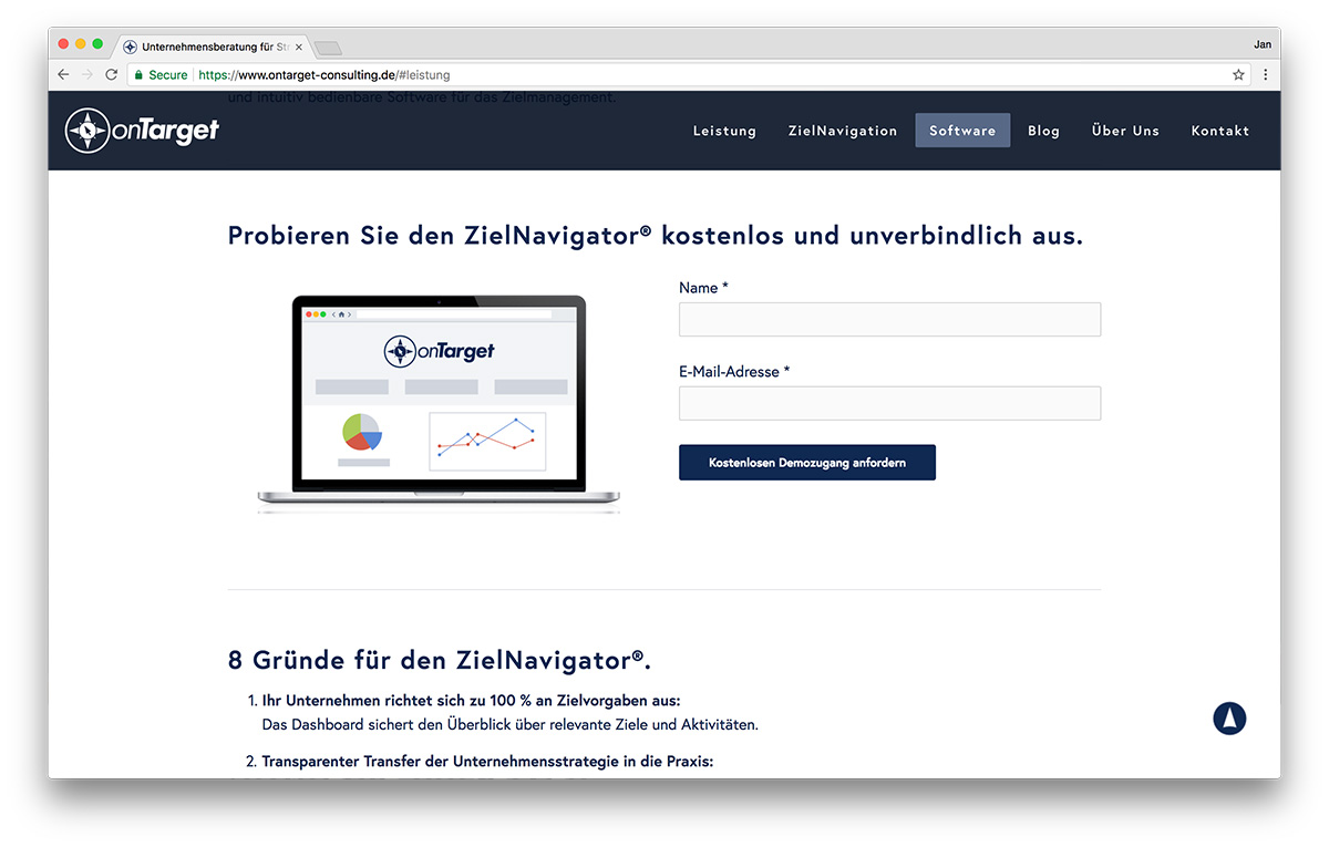 KreativBomber Webdesign Freiburg Projekt onTarget-Consulting - Software