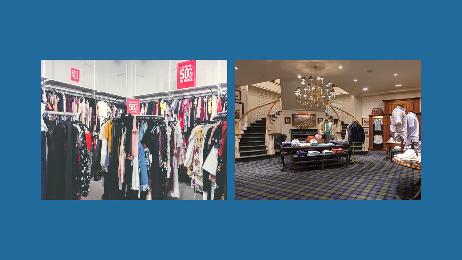 Low-price vs. upscale retail space comparison