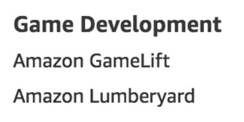Game Development services as listed on aws.amazon.com