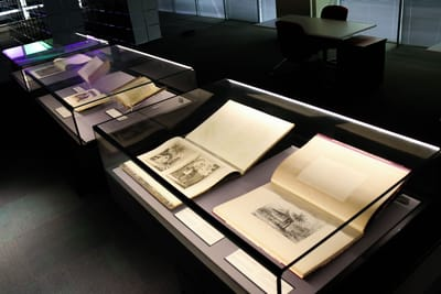 A gallery photo downward angle, showcasing illustrative books on the walls and table.