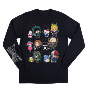 Hello Kitty & My Hero Academia Anime Cartoons Mens Black Shirt