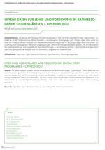 Offene Daten für Lehre und Forschung in raumbezogenen Studiengängen – OpenGeoEdu