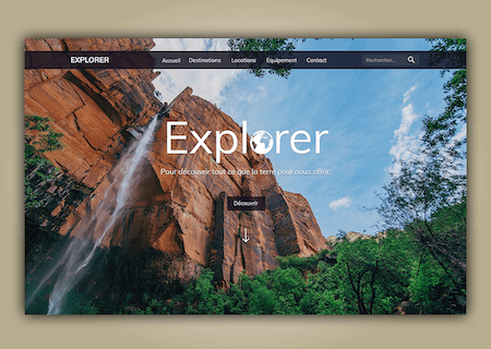 Explorer landing page screenshot from Dribbble
