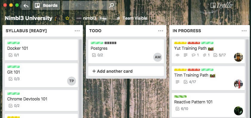 Easy visual management of continuous learning efforts via a Trello board
