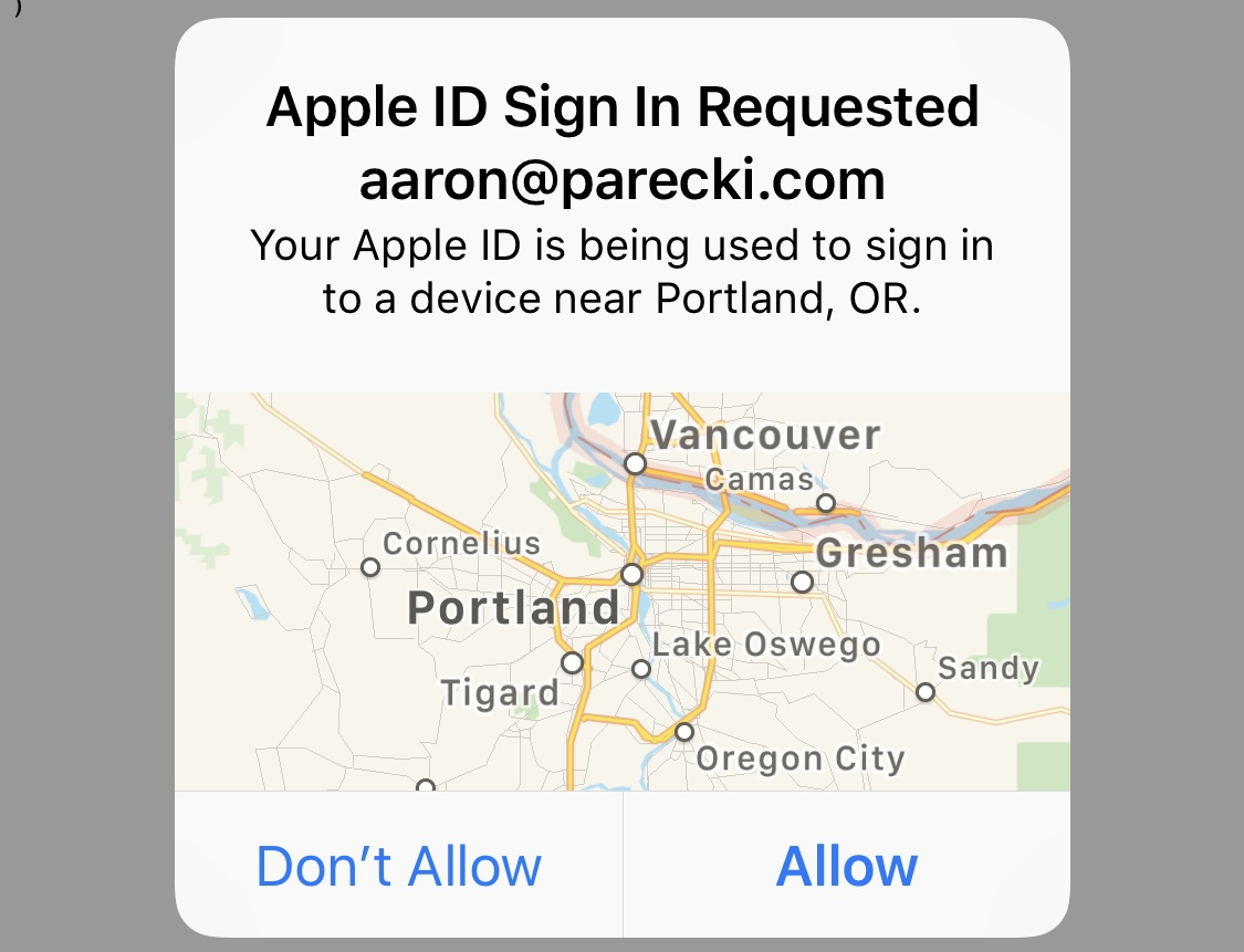Apple's prompt for confirming the login from another device