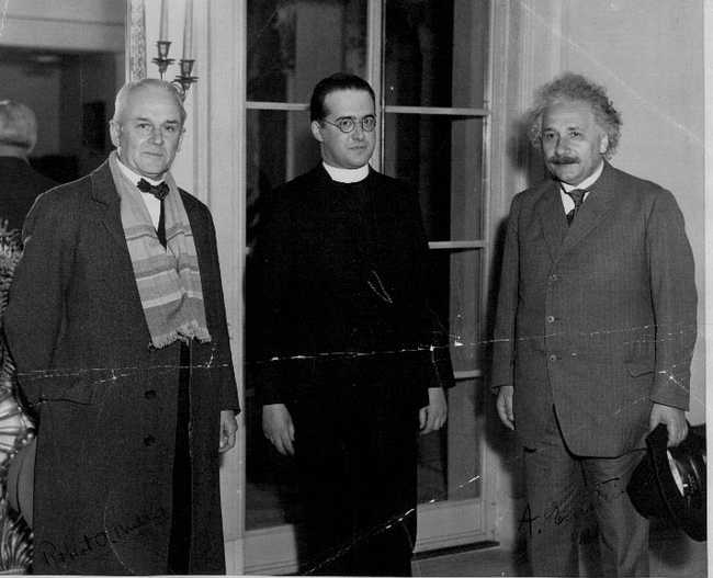 Millikan, Lemaître and Einstein after Lemaître's lecture at the California Institute of Technology in January 1933.